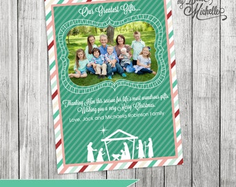 Personalized Nativity Photo Christmas Card - You Print Digital File