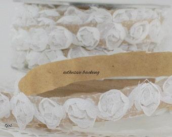 White Rose Trim, Stick on Ribbon