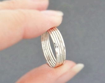 Thin Sterling Silver Stacking Rings silver rings - thumb rings, midi rings, or above the knuckle rings