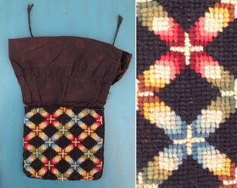 Antique Berlin work reticule 1830 1840 early Victorian needlework embroidery cross stitch with tartan lining!