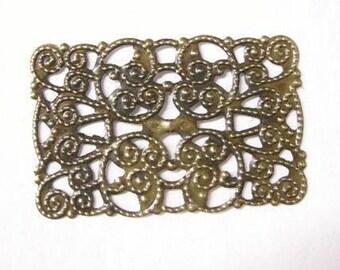 8pc 48x32mm antique bronze filigree wraps-5687