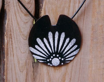 Deep seagreen floral pendant, torch fired enamel on copper