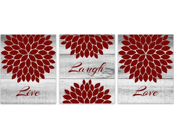 Live Laugh Love CANVAS or PRINTS, Home Decor Wall Art, Red Flower Burst Bathroom Wall Decor, Red Bedroom Wall Art - HOME150