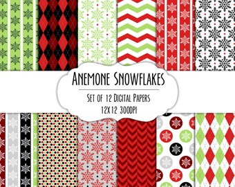 Anemone Snowflakes Digital Scrapbook Paper 12x12 Pack - Set of 12 - Polka Dots, Chevron, Stripes - Instant Download Item#8216