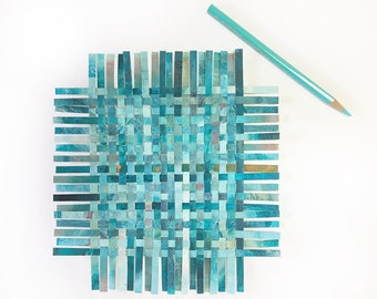Turquoise Paper Weaving- 8.5x8- Abstract Art- Woven Hand Painted Papers- Acrylic and Watercolor