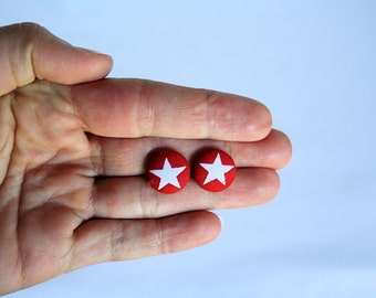 Petite Red and White Star Fabric Button Earrings, Patriotic Earrings, 4th of July, Earring Post/Stud, Red White and Blue
