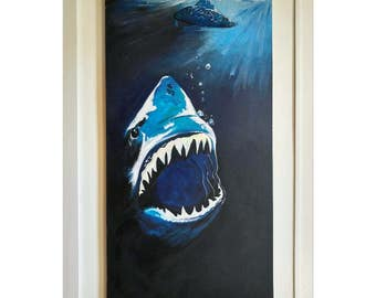 Original Two Shark Painting in Ocean