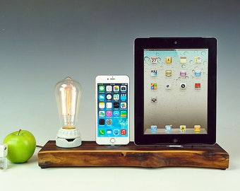 Walnut docking station for iPad and iPhone, Edison bare bulb lamp and solid live edge walnut dock/charger.  USA. #774.