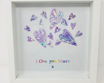 Love You More - Hand Marbled Paper