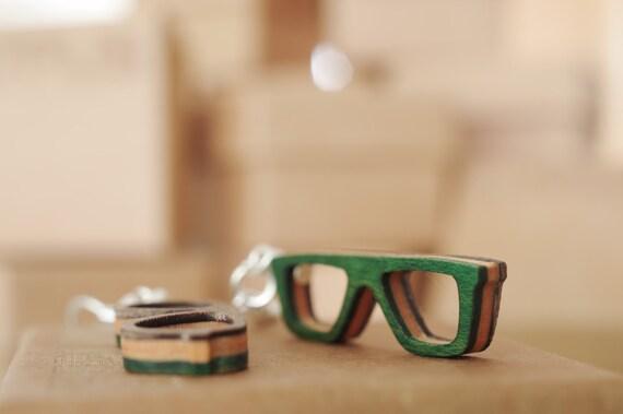 SKATEBOARD recycled wood glasses earrings green orange red black grey purple blue yellow #madeinfrance