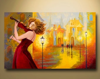 LARGE ORIGINAL contemporary fine art textured modern palette knife painting  FIGURATIVE  Series 30inX48in