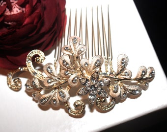 gold champagne bridal hair comb, wedding crystal hair comb,  champagne wedding ivory comb, gold wedding hair accessory, bridal comb