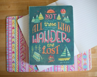 Those Who Wander Tolkien Blank Lined Journal Hand Lettered Illustrated  Coptic Binding Lay Flat Inspirational Travel Journal Notebook