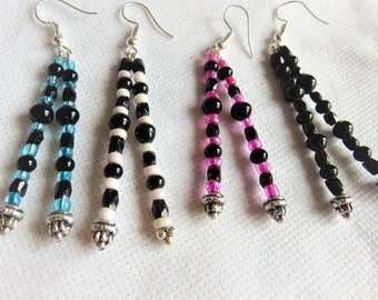 earrings, long double pendant, 4 colors to choose from, glass beads