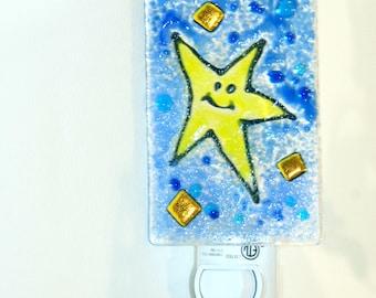 Star Night light fused glass, glass nightlight, celestial night sky, Childs room light, wall light, room light, glass light,