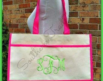 Monogram Tote Bag - Bridal Party Gift Bag - Bride Bridesmaid Maid of Honor