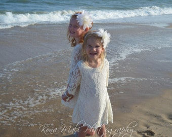 Autumn Flower Girl Lace Dress, Girls Lace Dress, Ivory Flowergirl Dress for toddlers & girls size 1T,2T,3T,4T,5T,6,7/8,9/10,11/12,13/14