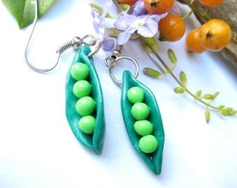 Pea Pod Earrings, vegan gift, vegan jewelry, food earrings, food gift, food jewelry, polymer clay, miniature food, vegetable charm, cute