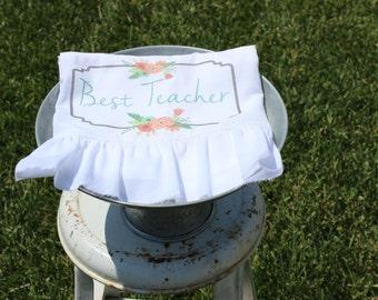 Ruffled Shabby Chic, Cottage, Farmhouse, Flour Sack Towel, Tea Towel, Kitchen Towel. (Best Teacher)