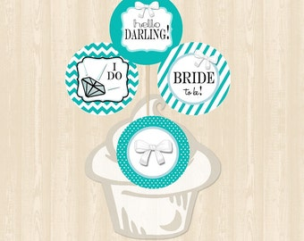 Tiffany's Wedding Cupcake Toppers