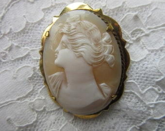 Large Gold Plated on Silver Carved Shell Cameo Brooch / Pin  - vintage - mid century - ideal as a present