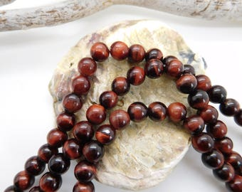 30 pearls natural tiger eye red round 6mm