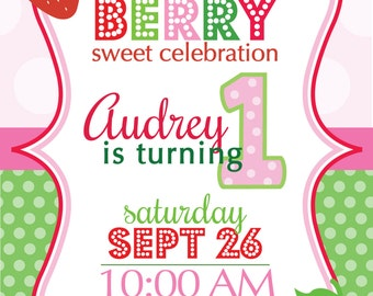 PRINTABLE Strawberry First Birthday Invitation