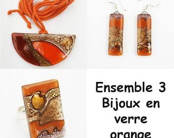 Orange glass matching jewelry set
