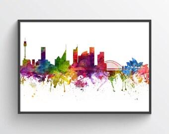 Sydney Poster, Sydney Skyline, Sydney Cityscape, Sydney Print, Sydney Art, Sydney Decor, Home Decor, Gift Idea, AUSY06P