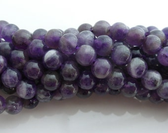 Natural Purple Amethyst Smooth Round Beads 6mm - 7 Inch Strand, Gemstones, Beads, UK Seller (GB1043)
