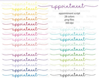 Appointment Script Icon Digital Clipart in Rainbow Colors - Instant download PNG files