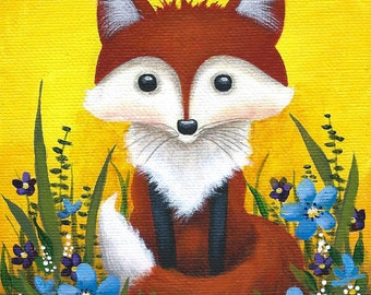 Fox in the Flowers - 5 x 7 Fine Art Print of a Red Fox Sitting in Grass with Blue and Purple Flowers and a Sunny Yellow Background