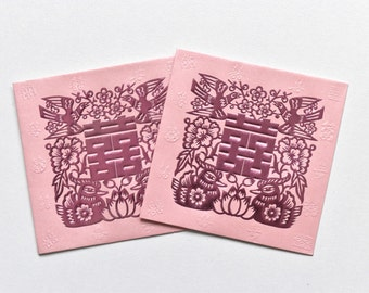 Double Happiness Ying Yang Bird Lai See/Money Packet - Pink/Gold - Medium Size