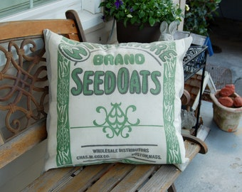"""Vintage Seed Sack Pillow Cover - Green Linen 22""""x22"""""""