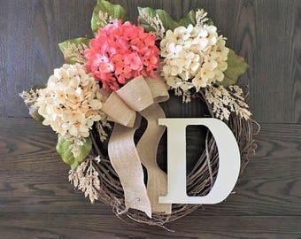 Spring wreath with hydrangeas, Grapevine Wreaths for Front door, Summer Year Round Wreath, Front Door Wreath, Grapevine Wreath for door