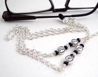Silver Yin-Yang Bead Chain Eyeglass Leash