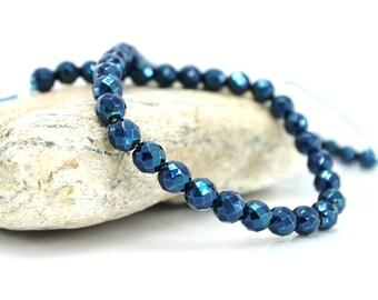 Faceted Hematite - Diam 10 beads. 8 mm - color metallic Midnight Blue