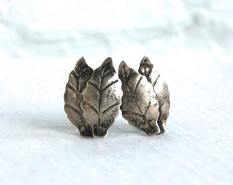 Screw Back Leaf Earrings Sterling Silver Leaves Vintage Mexican Clips Screwback Jewelry from Mexico