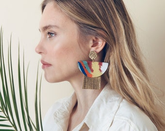 Statement gold leather earrings with multicolored silk for women