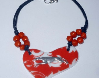 Red + White Porcelain Heart Cord Bracelet w SP Greyhound Dog Charm Whippet IG