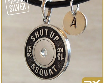 Fitness necklace Personal gift Weight plate jewelry Weightlifting charms Body builder Barbell pendant Bodybuilder Powerlifting Silver