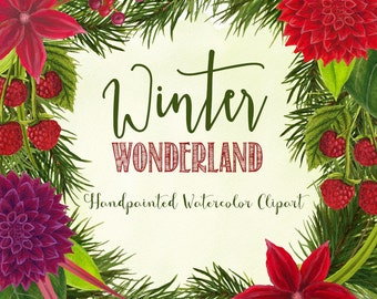 christmas watercolor clipart, xmas flowers watercolor graphics, red and green watercolor florals for invites, handpainted clipart