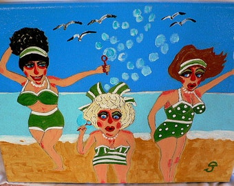 folk art painting beach ocean sisters retro 11x14 New