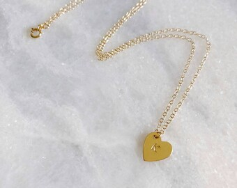 Personalized Initial Necklace, 14k Gold Filled Heart Dainty Necklace