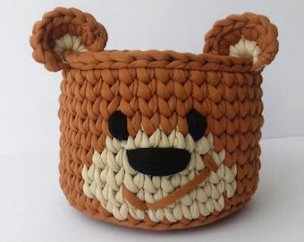Nursery Cotton Storage Basket   Hand Crochet Bin   Toy Storage  Storage Bin  Toy Basket   Gift for Kids  Nursery Decor  Small Crochet Basket