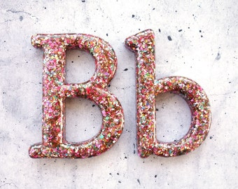 Glitter Letter B, Resin Letter Filled with Glitter, Glitter Home Decor. Decorative Glitter Letter B, Silver, Gold, Red, Green, Blue, Pink