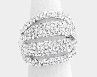 ON SALE Wide Multi-row Crystal Stretch Ring