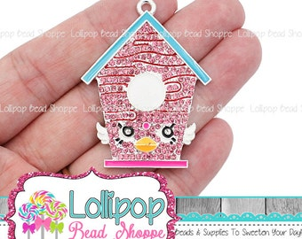 49mm Birdhouse Rhinestone Pendant, Pink Bird House Charm, Chunky Necklace Pendants, Bubblegum Beads, Bling Party Favors RP305