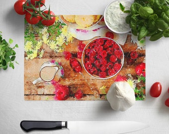 Raspberry Delight, Digital Watercolour Painting/ Counter Saver / Chopping Board,  In Chinchilla Glass - Large 28.5cm x 39cm