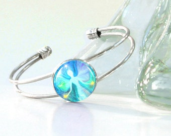 "Angel Art, Reiki Energy Bracelet, Aqua Silver Wire Cuff ""Aura Angel"""